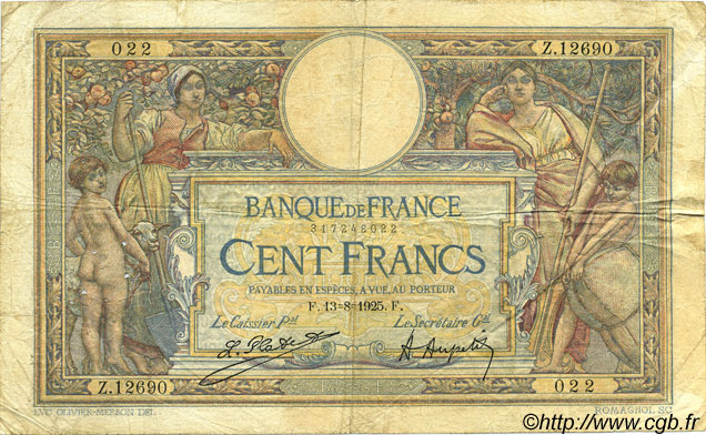 100 Francs LUC OLIVIER MERSON grands cartouches FRANCE  1925 F.24.03 B+