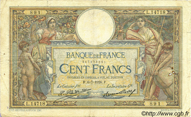 100 Francs LUC OLIVIER MERSON grands cartouches FRANCE  1926 F.24.05 pr.TB