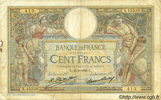 100 Francs LUC OLIVIER MERSON grands cartouches FRANCE  1926 F.24.05 B+