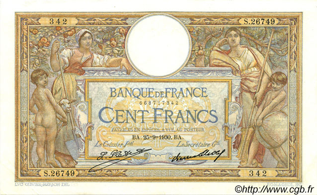 100 Francs LUC OLIVIER MERSON grands cartouches FRANCE  1930 F.24.09 SPL