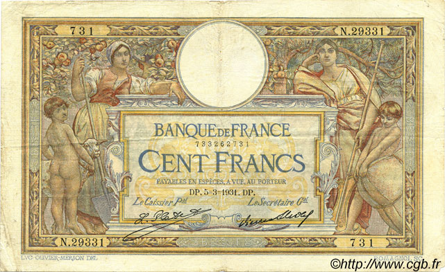 100 Francs LUC OLIVIER MERSON grands cartouches FRANCE  1931 F.24.10 TB+