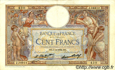 100 Francs LUC OLIVIER MERSON grands cartouches FRANCE  1932 F.24.11 TB+