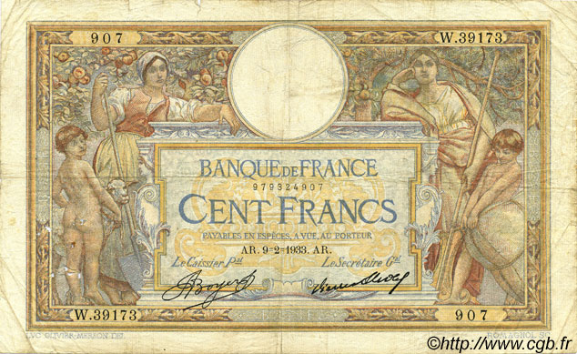 100 Francs LUC OLIVIER MERSON grands cartouches FRANCE  1933 F.24.12 B à TB