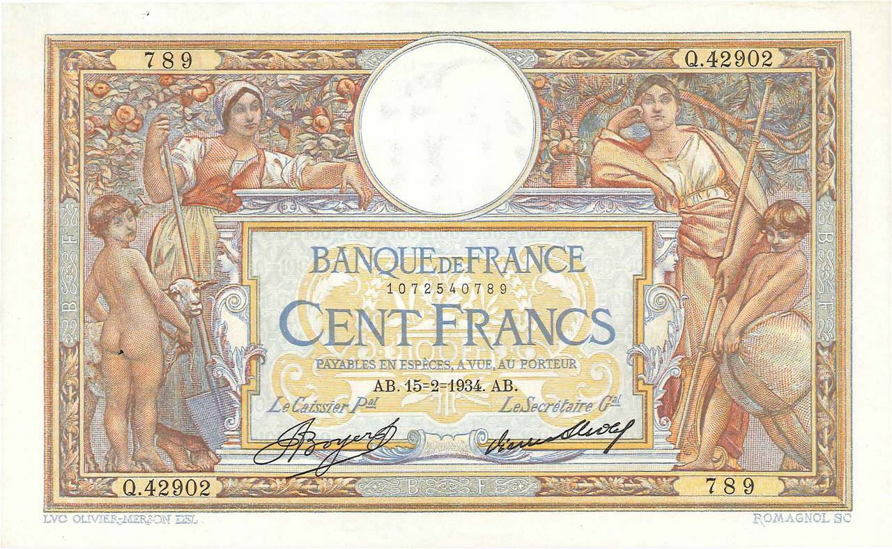 100 Francs LUC OLIVIER MERSON grands cartouches FRANCE  1934 F.24.13 SUP