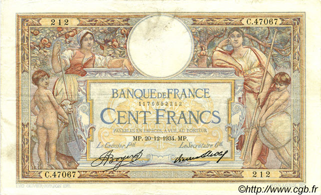 100 Francs LUC OLIVIER MERSON grands cartouches FRANCE  1934 F.24.13 TTB