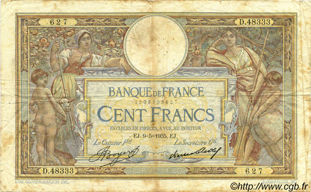 100 Francs LUC OLIVIER MERSON grands cartouches FRANCE  1935 F.24.14 B
