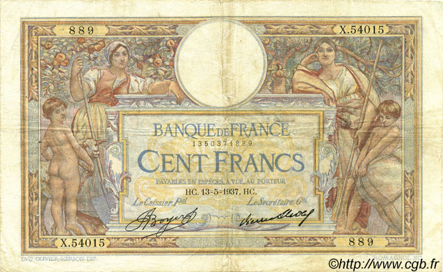 100 Francs LUC OLIVIER MERSON grands cartouches FRANCE  1937 F.24.16 TB+