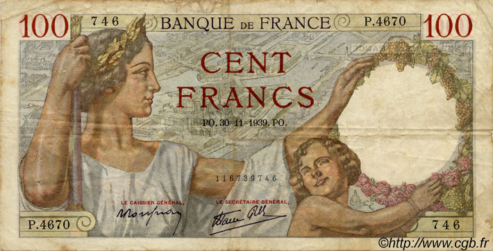100 Francs SULLY FRANCE  1939 F.26 B