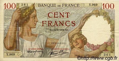 100 Francs SULLY FRANCE  1939 F.26.06 TTB