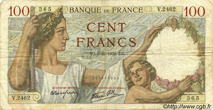 100 Francs SULLY FRANCE  1939 F.26.09 TB+