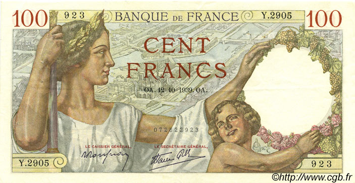 100 Francs SULLY FRANCE  1939 F.26.10 pr.SUP