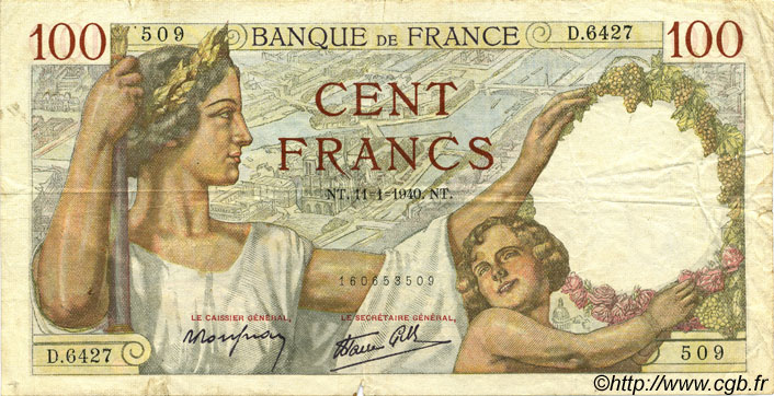 100 Francs SULLY FRANCE  1940 F.26.20 TB