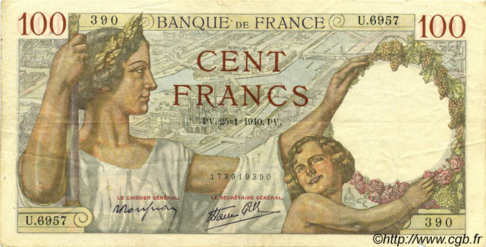 100 Francs SULLY FRANCE  1940 F.26.21 TTB+