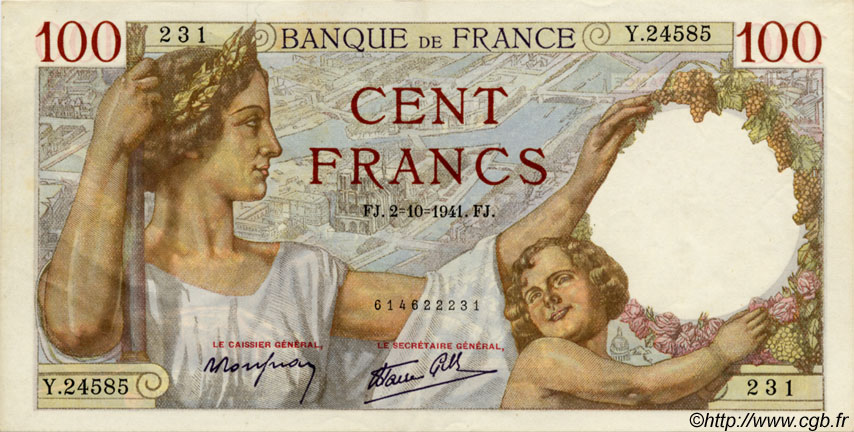 100 Francs SULLY FRANCE  1941 F.26.58 SUP+