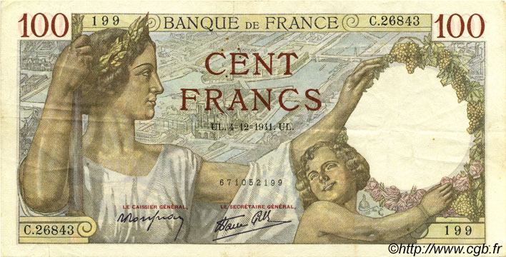 100 Francs SULLY FRANCE  1941 F.26.62 TTB+