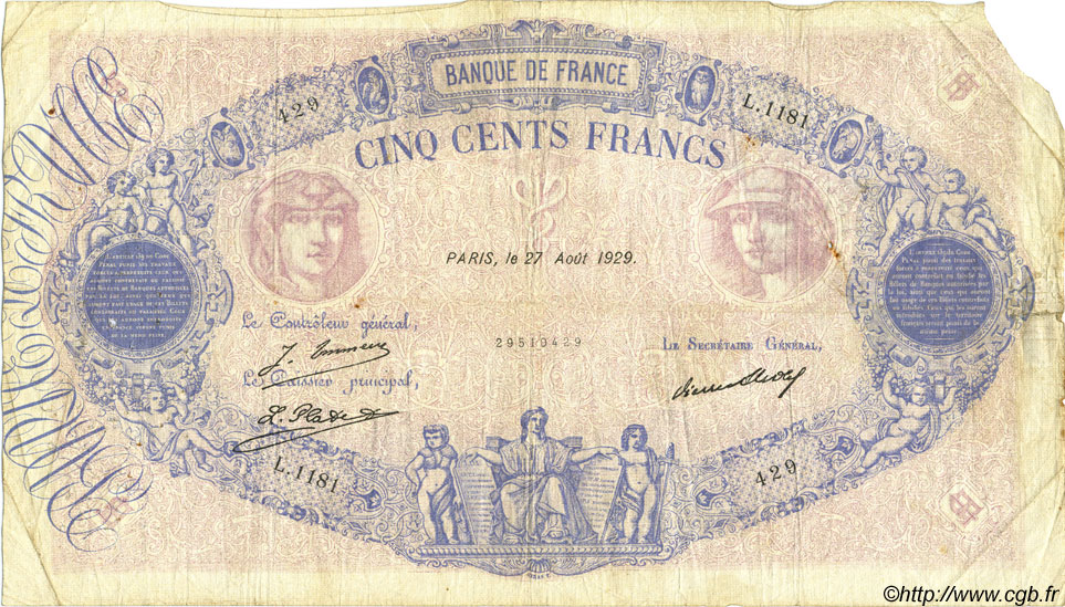 500 Francs BLEU ET ROSE FRANCE  1929 F.30.32 B+