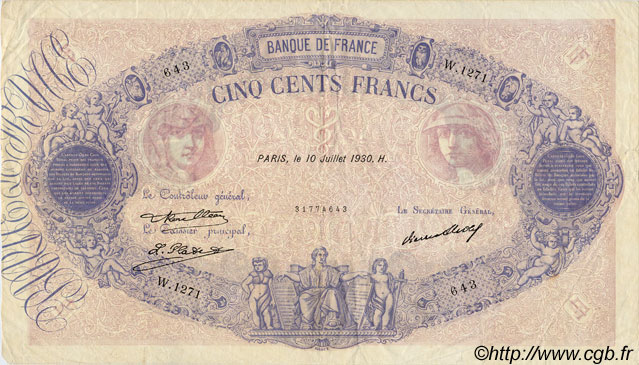 500 Francs BLEU ET ROSE FRANCE  1930 F.30.33 TB+