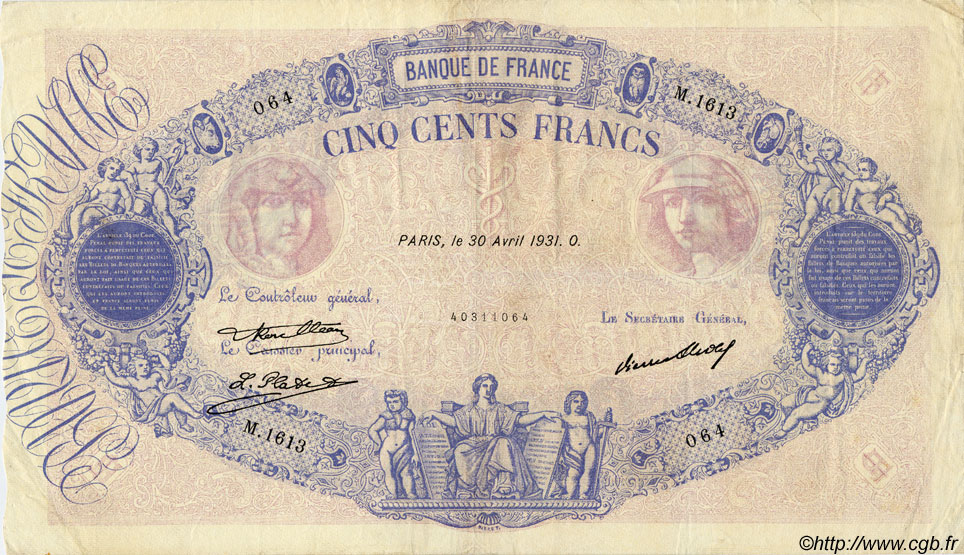 500 Francs BLEU ET ROSE FRANCE  1931 F.30.34 TTB+