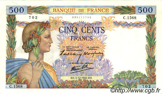 500 Francs LA PAIX FRANCE  1940 F.32.10 SUP+