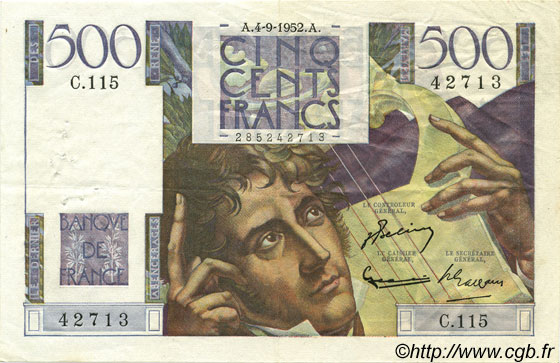 500 Francs CHATEAUBRIAND FRANCE  1952 F.34.10 TTB+