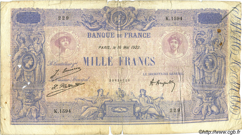 1000 Francs BLEU ET ROSE FRANCE  1922 F.36.38 AB