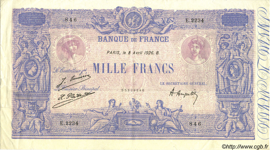 1000 Francs BLEU ET ROSE FRANCE  1926 F.36.42 TTB+ à SUP