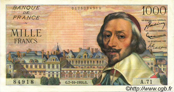 1000 Francs RICHELIEU FRANCE  1954 F.42.08 SPL