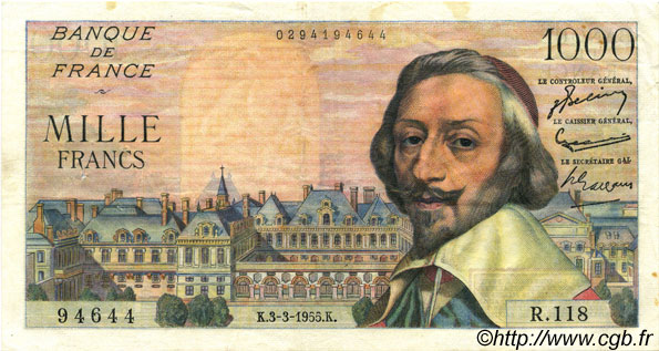 1000 Francs RICHELIEU FRANCE  1955 F.42.11 TTB+