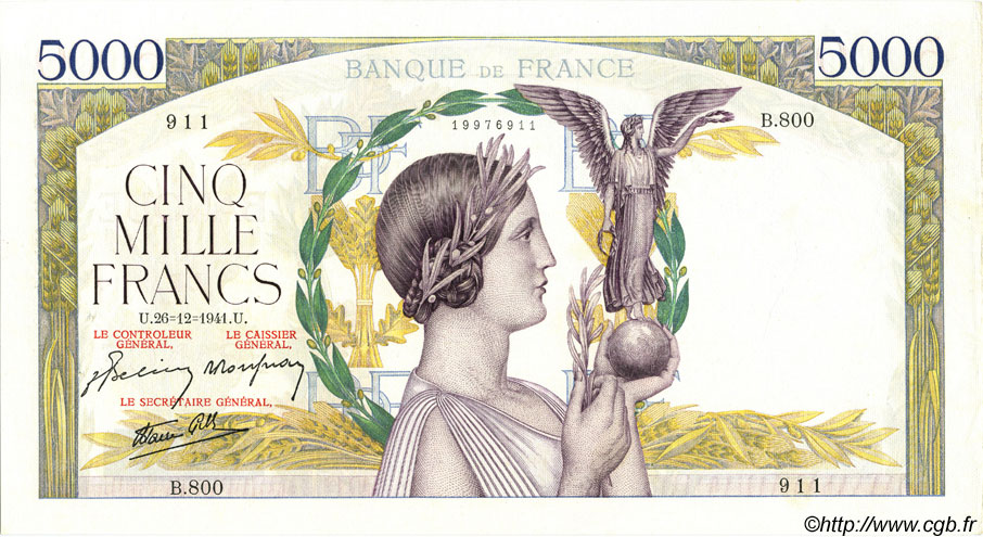 5000 Francs VICTOIRE Impression à plat FRANCE  1941 F.46.31 SUP