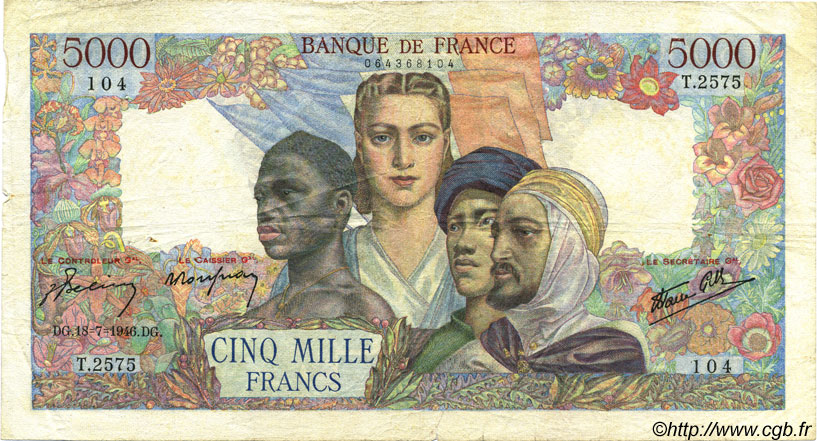 5000 Francs EMPIRE FRANÇAIS FRANCE  1946 F.47.55 TB