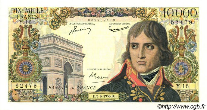 10000 Francs BONAPARTE FRANCE  1956 F.51.03 SPL+