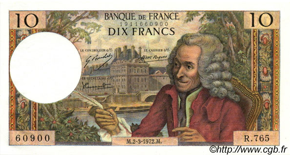 10 Francs VOLTAIRE FRANCE  1972 F.62.54 NEUF