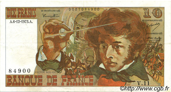 10 Francs BERLIOZ FRANCE  1973 F.63.02 pr.SUP