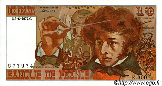 10 Francs BERLIOZ FRANCE  1977 F.63.22 SPL+