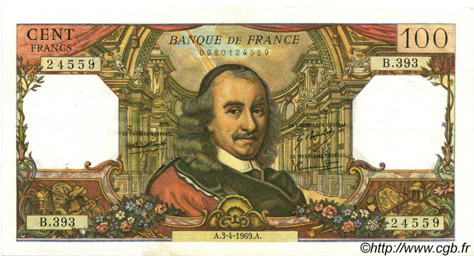 100 Francs CORNEILLE FRANCE  1969 F.65.26 SUP