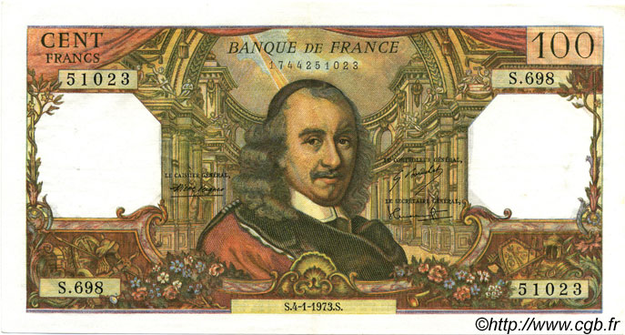 100 Francs CORNEILLE FRANCE  1973 F.65.41 SUP+