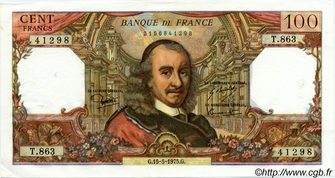 100 Francs CORNEILLE FRANCE  1975 F.65.49 SPL