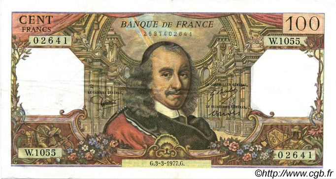100 Francs CORNEILLE  FRANCE  1977 F.65.57 SUP