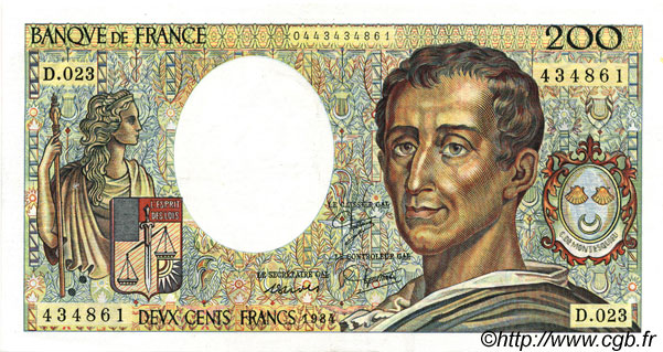 200 Francs MONTESQUIEU FRANCE  1984 F.70.04 SUP+