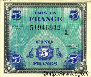 5 Francs DRAPEAU FRANCE  1944 VF.17.03x SPL