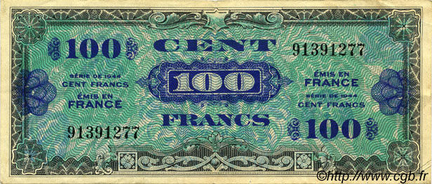 100 Francs DRAPEAU FRANCE  1944 VF.20.01 TTB