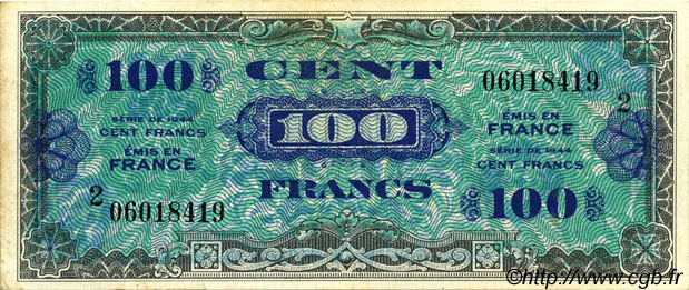 100 Francs DRAPEAU  FRANCE  1944 VF.20.02 SUP