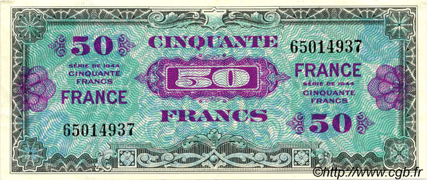 50 Francs FRANCE FRANCE  1945 VF.24.01 pr.SPL