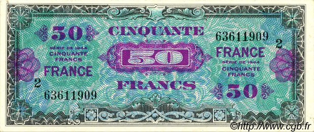 50 Francs FRANCE FRANCE  1945 VF.24.02 SPL