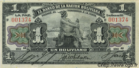 1 Boliviano BOLIVIE  1911 P.102a SUP