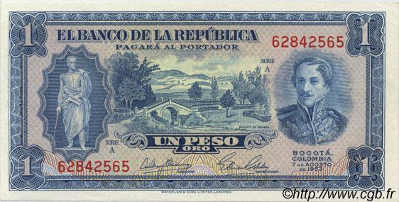 P-398 COLOMBIA 1 PESO ORO 1953 UNC