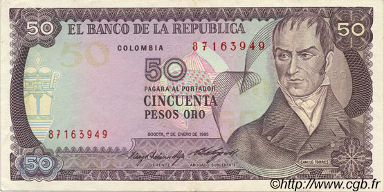 50 Pesos Oro COLOMBIE  1985 P.425a SUP