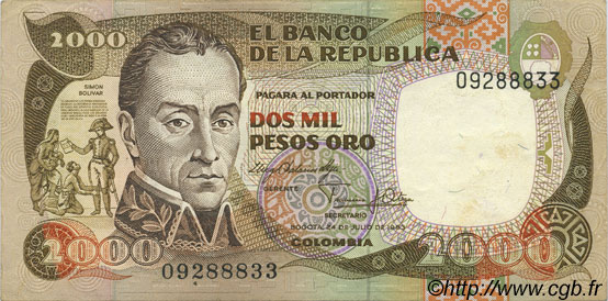 2000 Pesos Oro COLOMBIE  1983 P.430a SUP
