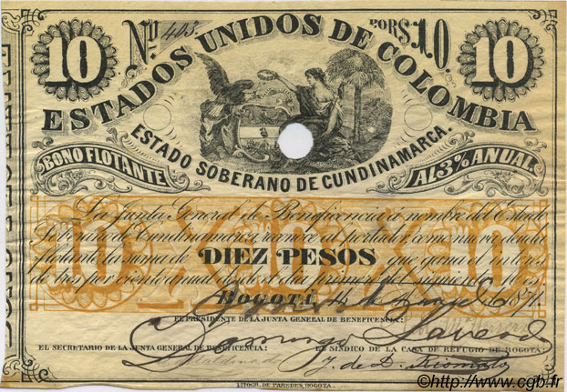 10 Pesos COLOMBIE  1871 PS.0163 SUP