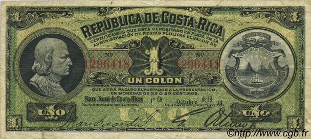 1 Colon COSTA RICA  1914 P.143 TTB